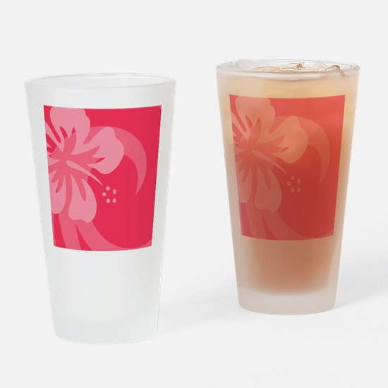 Hibiscus Pink Coaster Drinking Glass