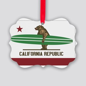 California Surfing Bear Longboard Picture Ornament