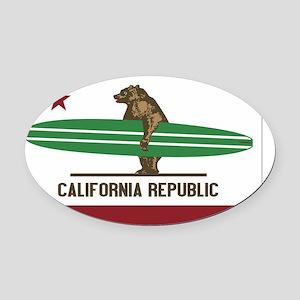 California Surfing Bear Longboard  Oval Car Magnet