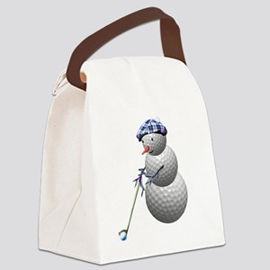 Golf Ball Snowman Canvas Lunch Bag
