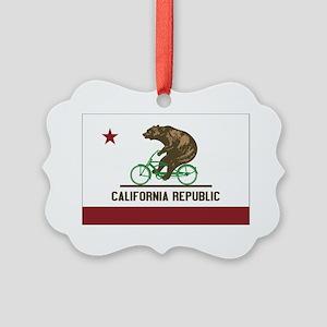 California Beach Cruiser Bear Picture Ornament