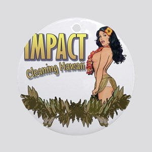 Impact Cleaning Hawaii Hula Girl Round Ornament