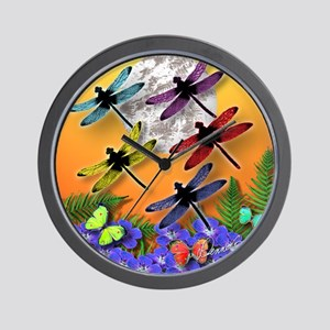 Dragonflying To The Moon Wall Clock