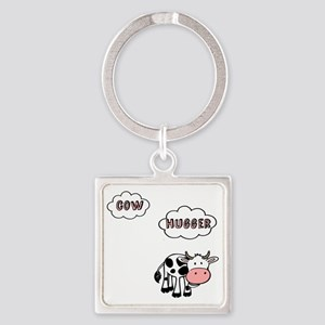 Cow Hugger Square Keychain