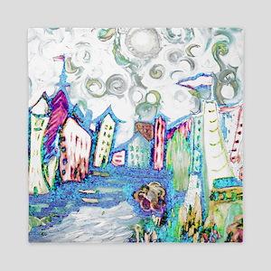 Winter City Van Gogh Queen Duvet