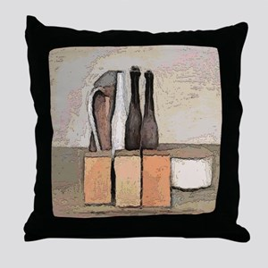 wine and Cheese Still Life Throw Pillow