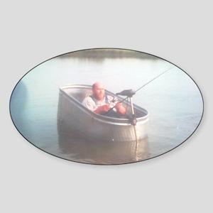 Hillybilly bass boat 2 Sticker (Oval)