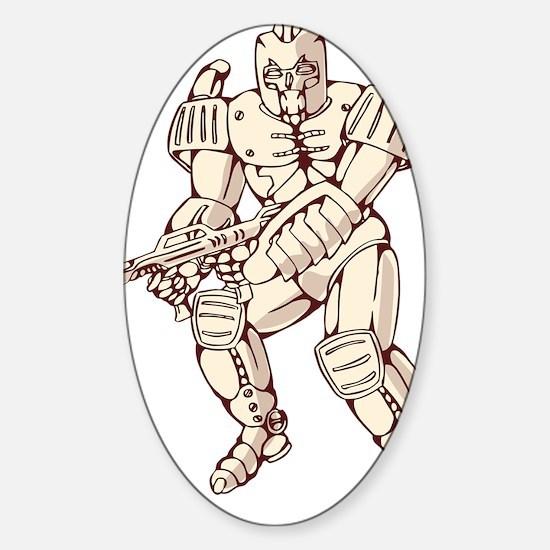 Mecha Robot Warrior With Ray Gun Sticker (Oval)