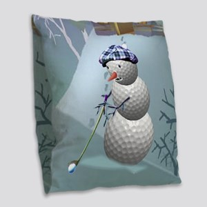 Golf Ball Snowman Burlap Throw Pillow