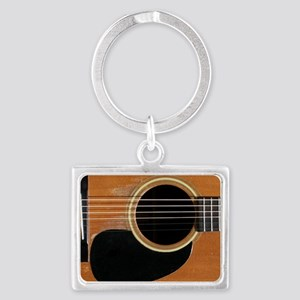 Old, Acoustic Guitar Landscape Keychain