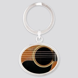Old, Acoustic Guitar Oval Keychain
