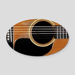 Old, Acoustic Guitar Oval Car Magnet
