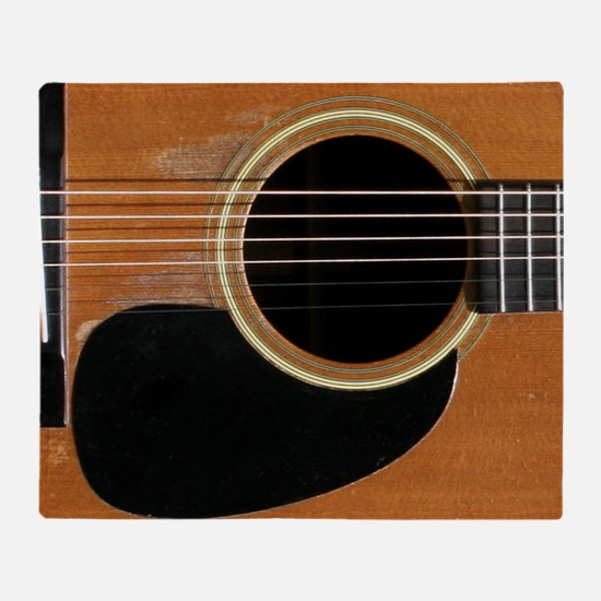 Old, Acoustic Guitar Throw Blanket