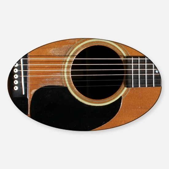 Old, Acoustic Guitar Sticker (Oval)
