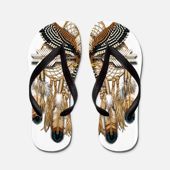 Aplomado Falcon Dreamcatcher Flip Flops