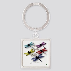 Dragonflies Around Some planet Square Keychain