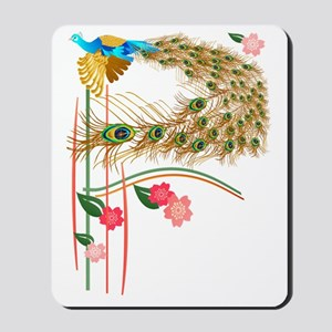 Flying Peacock And Cherry Blossoms Mousepad