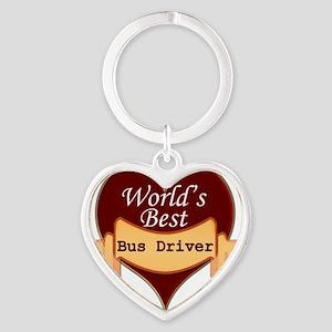 Worlds Best Bus Driver Heart Keychain