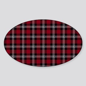 Vintage, Red Plaid, Sticker (Oval)