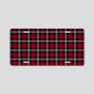 Vintage, Red Plaid, Aluminum License Plate