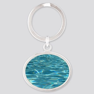 Crystal Clear Water Oval Keychain
