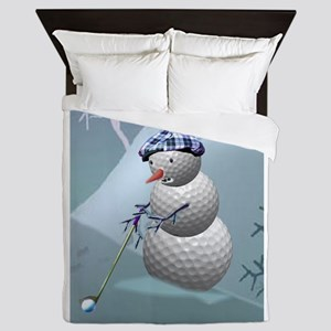 Golf Ball Snowman Queen Duvet