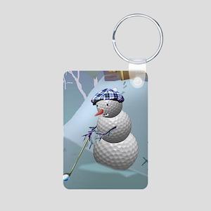 Golf Ball Snowman Aluminum Photo Keychain