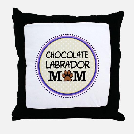 Chocolate Labrador Dog Mom Throw Pillow