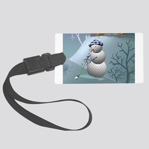 Golf Ball Snowman Large Luggage Tag