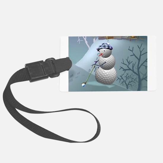 Golf Ball Snowman Luggage Tag