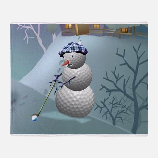 Golf Ball Snowman Throw Blanket