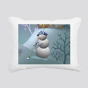 Golf Ball Snowman Rectangular Canvas Pillow