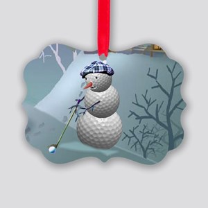 Golf Ball Snowman Picture Ornament
