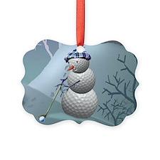 Golf Ball Snowman Picture Ornament