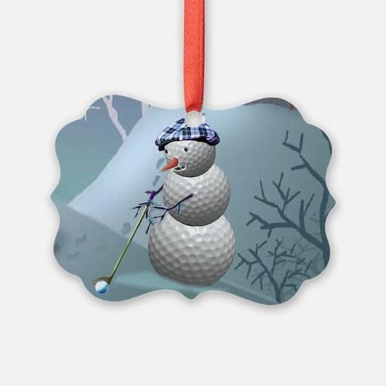 Golf Ball Snowman Ornament