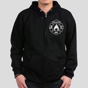 Fahrenheit 451 Fire Deptt. white Zip Hoodie (dark)