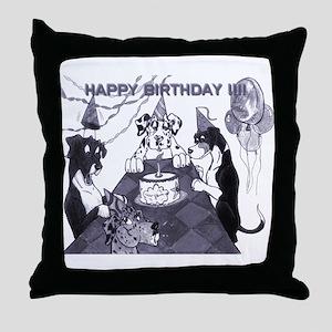 N Birthday Litter Throw Pillow