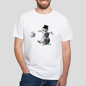 Soccer Christmas Snowman White T-Shirt