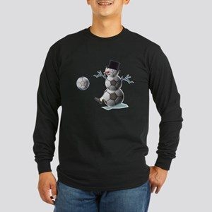 Soccer Christmas Snowman Long Sleeve Dark T-Shirt