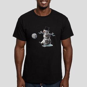 Soccer Christmas Snowman Men's Fitted T-Shirt (dar