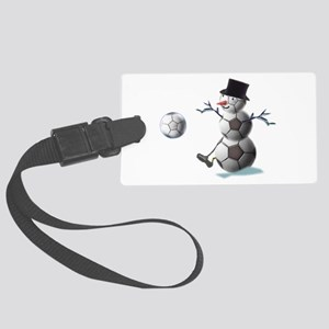 Soccer Christmas Snowman Large Luggage Tag