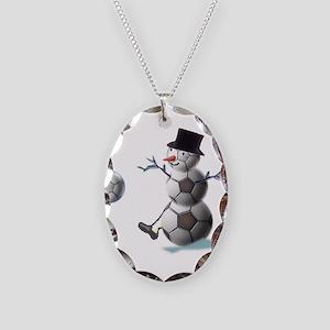 Soccer Christmas Snowman Necklace Oval Charm