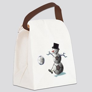 Soccer Christmas Snowman Canvas Lunch Bag