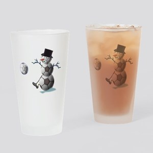 Soccer Christmas Snowman Drinking Glass