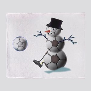 Soccer Christmas Snowman Throw Blanket