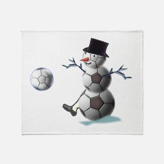 Soccer Christmas Snowman Throw Blanket
