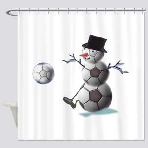 Soccer Christmas Snowman Shower Curtain