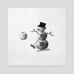 Soccer Christmas Snowman Queen Duvet