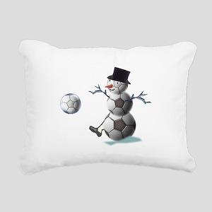 Soccer Christmas Snowman Rectangular Canvas Pillow