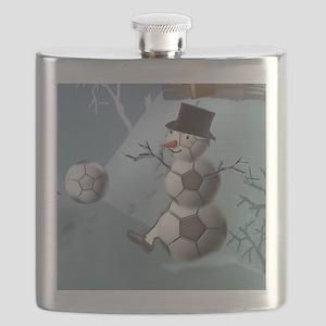 Soccer Christmas Snowman Flask